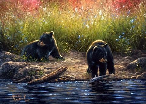 Картина раскраска по номерам 40x50 Медвежата у реки