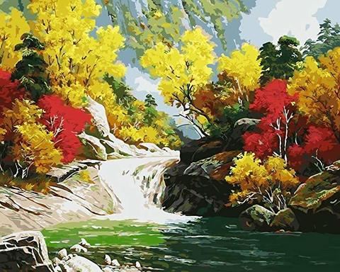 Картина раскраска по номерам 40x50 Небольшой водопад в осеннем лесу