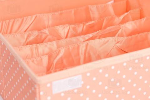 Складной органайзер для бюстгальтеров, 6 ячеек, 32*32*14 см (розовый в горошек)
