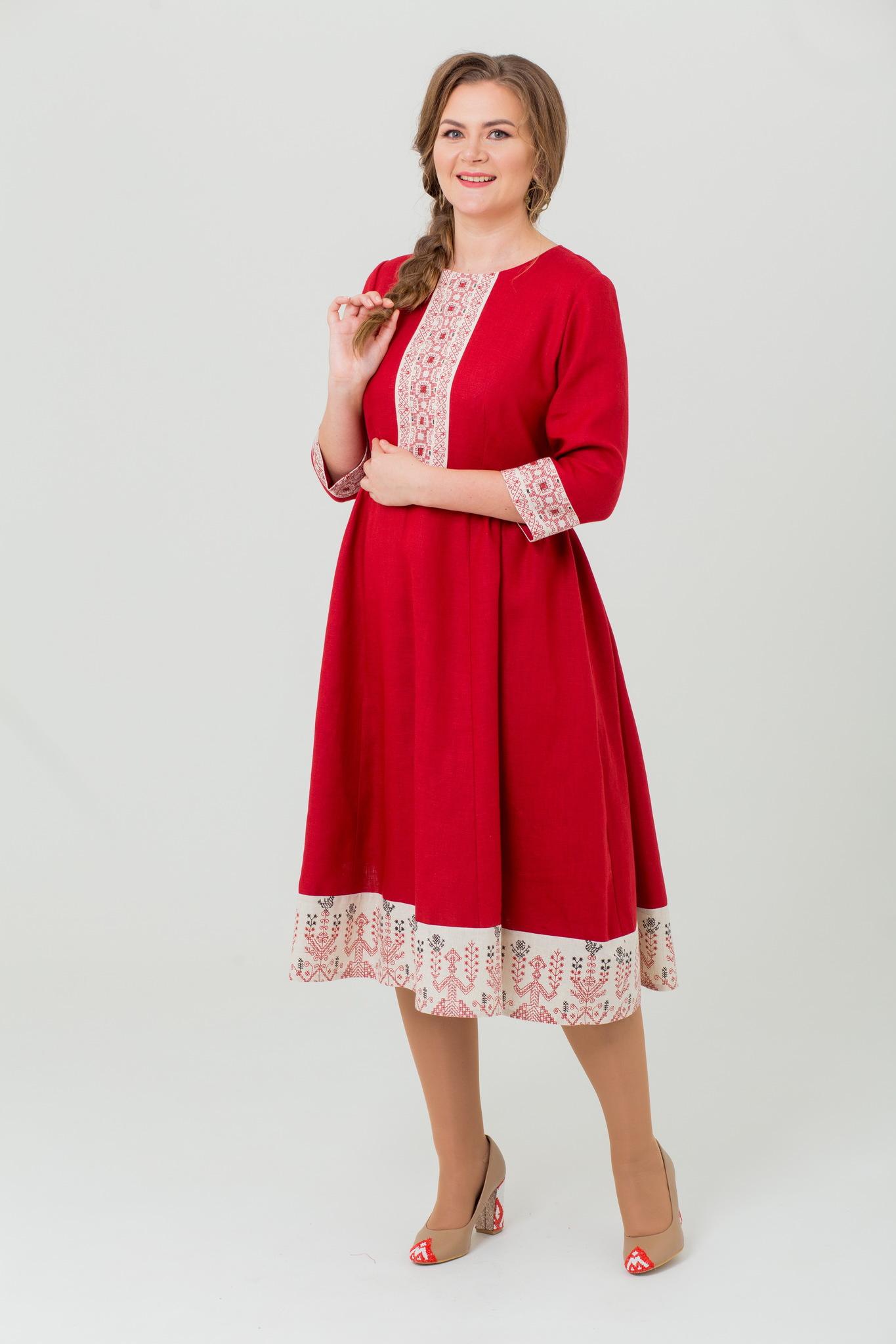 Льняное платье миди Вишнёвый сад в русском стиле