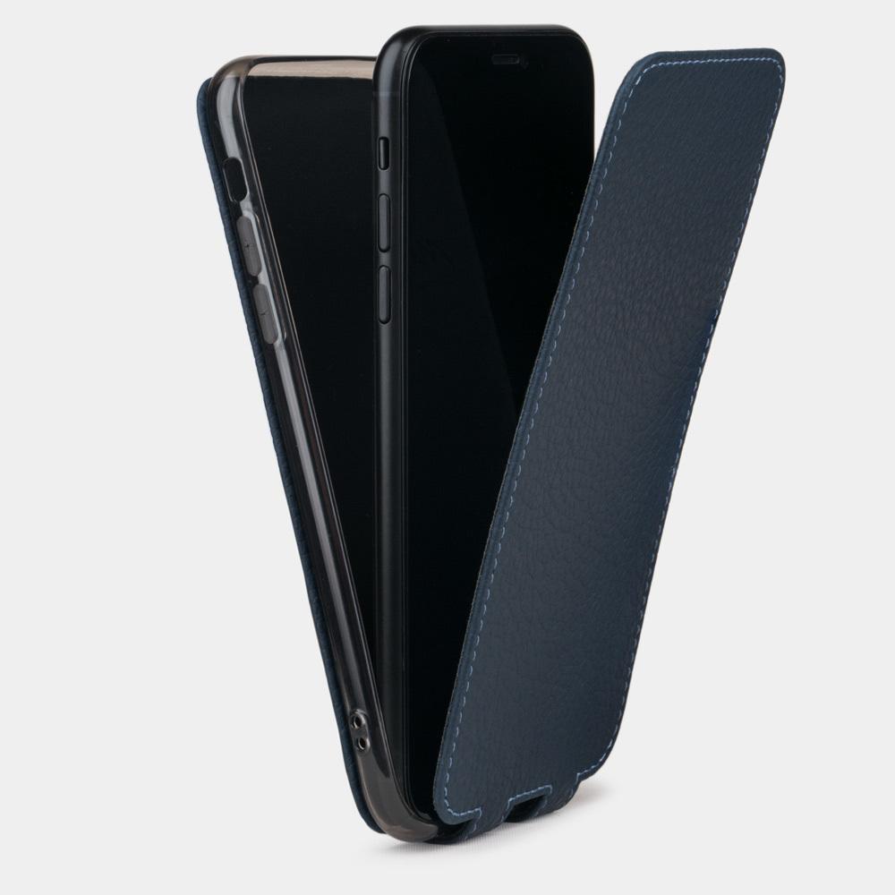 Чехол для iPhone XS Max из натуральной кожи теленка, цвета синий мат