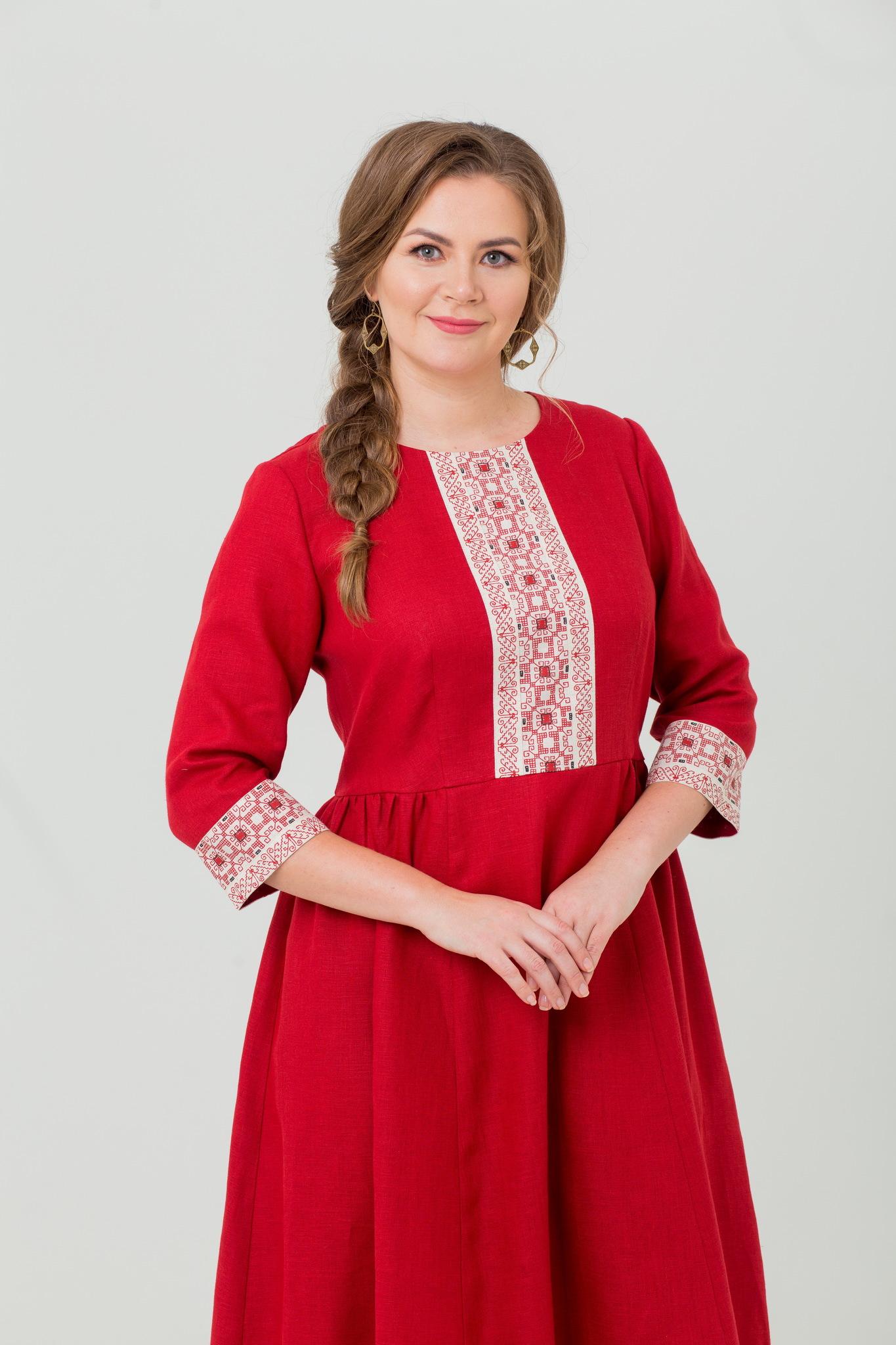 Русское платье из льна Вишнёвый сад