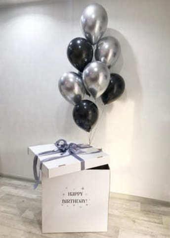 Коробка с шарами хром серебро и черные