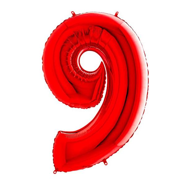 Фольгированная цифра 9, красный