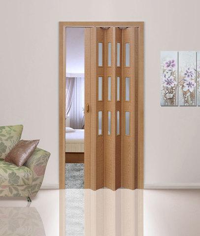 Дверь гармошка с витражами, цвет дуб
