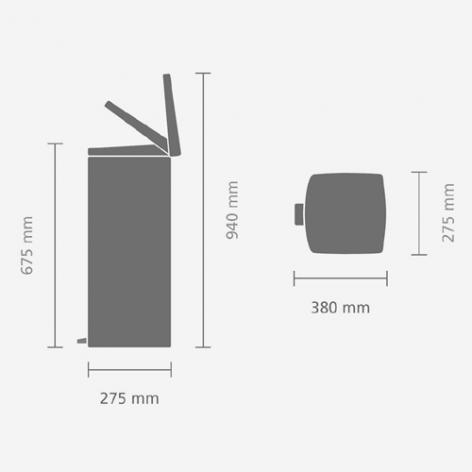 Прямоугольный мусорный бак  (25л), Стальной матовый (FPP), арт. 369407 - фото 1