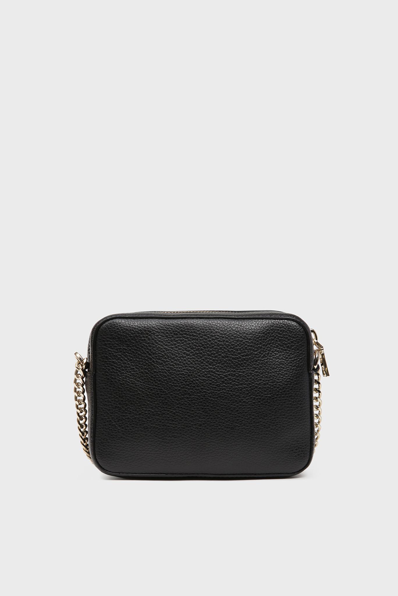 Женская черная кожаная сумка через плечо ELISSA DKNY