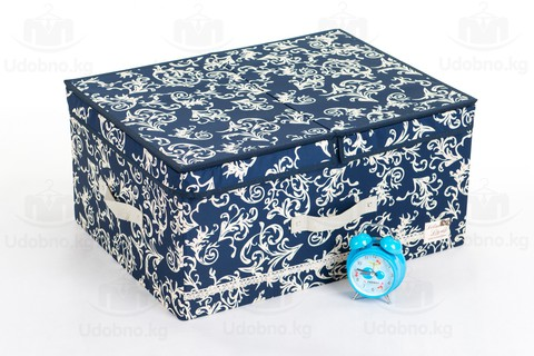 Большой складной кофр для одежды, 54*42*28 см (темно-синий с узорами)