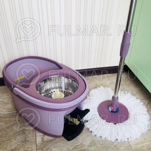 Ведро для уборки с отжимом и полосканием и шваброй Spin Mop 9 литров Лиловый