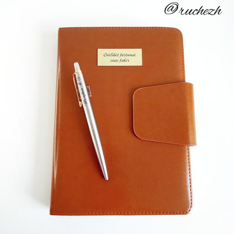 Набор с гравировкой: Ежедневник коричневый  и Шариковая ручка Parker Jotter Essential, St. Steel GT