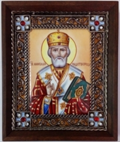Икона финифть  Николай Чудотворец