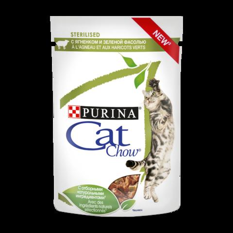 Cat Chow Sterilised Консервы для взрослых стерилизованных кошек с Ягненком и зеленой фасолью в соусе (Пауч)