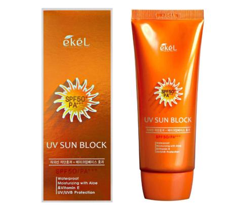 Ekel - Солнцезащитный крем с Алоэ и витамином Е SPF50+, 70г