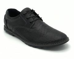 Черные кожаные полуботинки с перфорацией на шнуровке