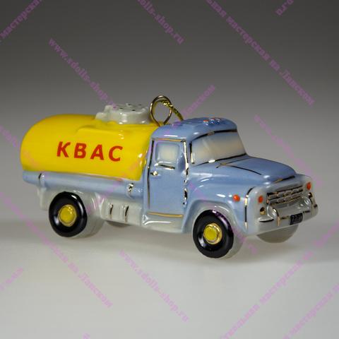 Фарфоровая елочная игрушка Цистерна Квас