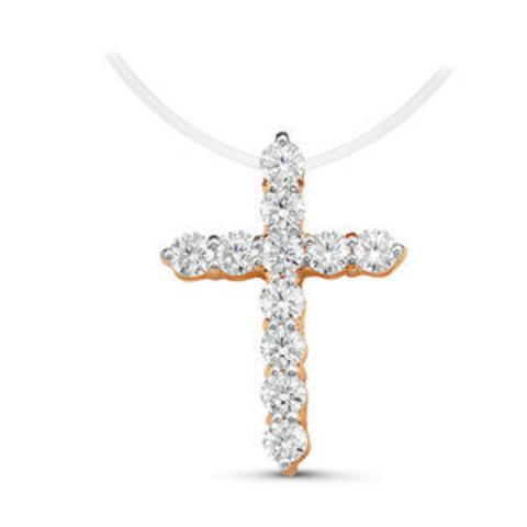 Маленький крест в стиле Тиффани на леске-невидимке с замочками из золота 585 пробы