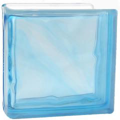 Торцевой стеклоблок голубой окраска в массе Vitrablok 19x19x8