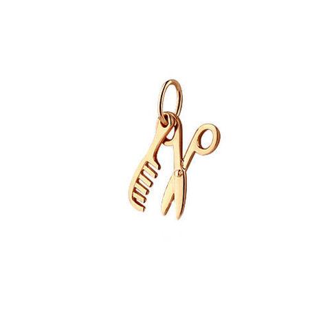 Подвеска расческа+ ножницы из золота 585 пробы