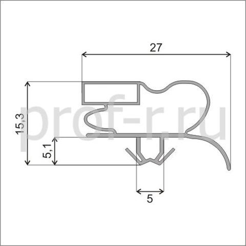Уплотнитель 64,5*53,4 см по пазу для холодильника Samsung .Профиль 008