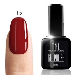TNL, Гель-лак № 015 - темно-красный (10 мл) кисточкой