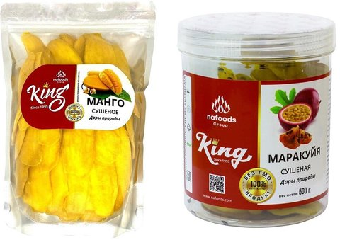 Набор сухофруктов King: сушеный манго (1000 грамм) и сушеная маракуйя (500 грамм)