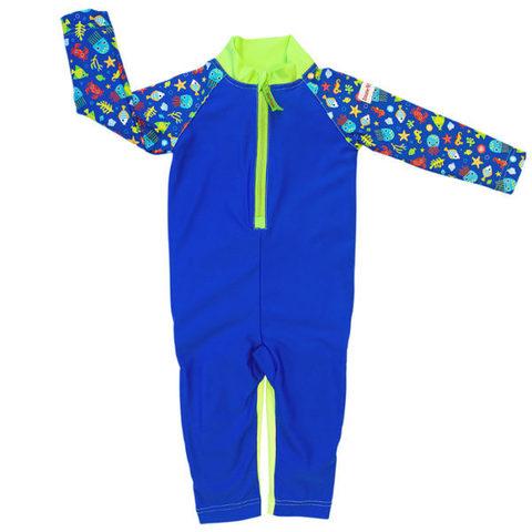 Детский плавательный костюм, print blue sea life, 74-80 см./ 6-12 мес.