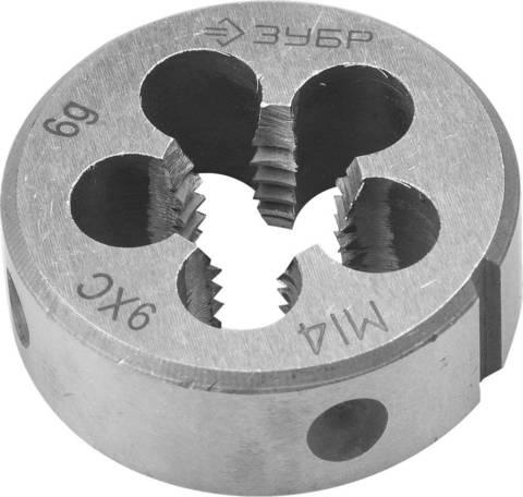 ЗУБР М14x2.0мм, плашка, сталь 9ХС, круглая ручная