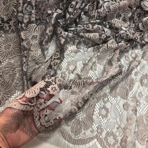 Кружевное полотно SH Бежево-серый 81574.1