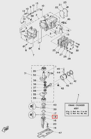 Сальник нижний коленчатого вала для лодочного мотора T5 Sea-PRO (2-18)