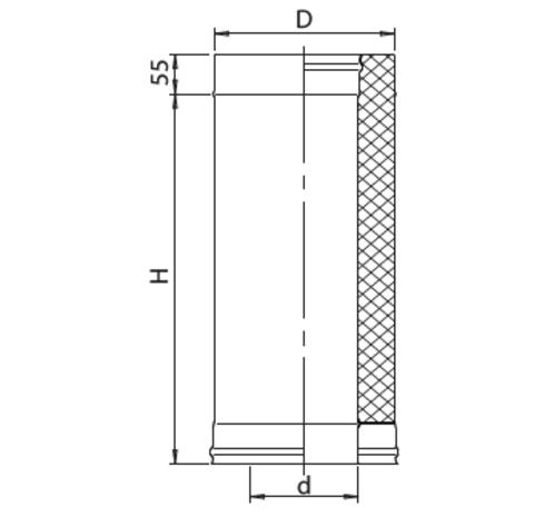 Сэндвич 1,0м FERRUM (430/0,8мм + нерж.) Ф150х250