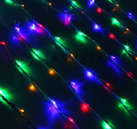 Гирлянда светодиодный дождь мультицветная, 2x6 м, LED-1500-220V