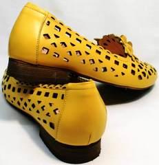 Желтые туфли женские кожаные летние Phany 103-28 Yellow.