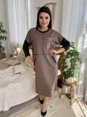 Ярослава. Удобное стильное платье плюс сайз. Мокко