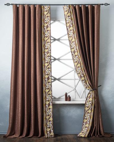 Комплект штор с подхватами Диама коричневый