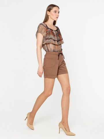 Фото стильные летние коричневые шорты с застежкой на молнию - Брюки А422-101 (1)