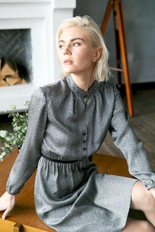 Фото платье с застежкой на пуговицах и черной вставкой на поясе - Платье З478-107 (1)