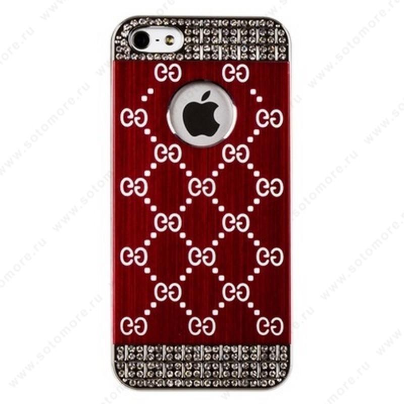 Накладка GUCCI металлическая для iPhone SE/ 5s/ 5C/ 5 серебро бордовая