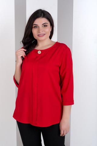 Лиза. Стильная блуза больших размеров. Красный
