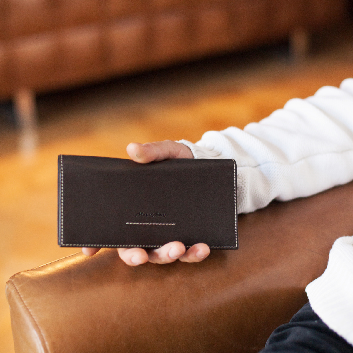 Длинный кошелек Lingot Bicolor из натуральной кожи теленка, темно-коричневого цвета