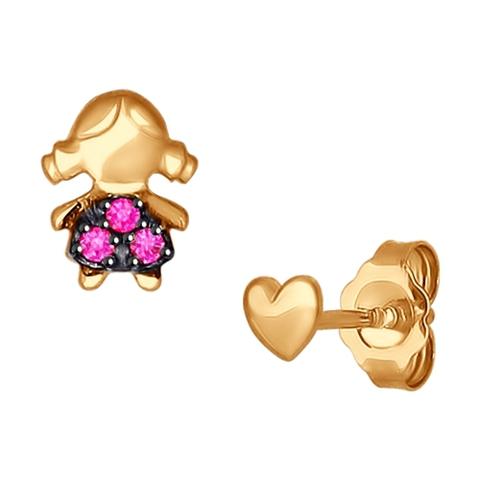 Пусеты из золота в форме девочки с фианитами