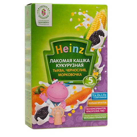 """Каша """"Heinz"""" лакомая кукурузная с тыквой черносливом морковочкой (с 5 месяцев) 170 г"""