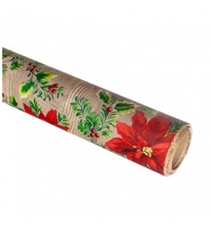 Бумага упаковочная крафт Пуансетия 60гр, 70 см 10 м, натуральный/красный