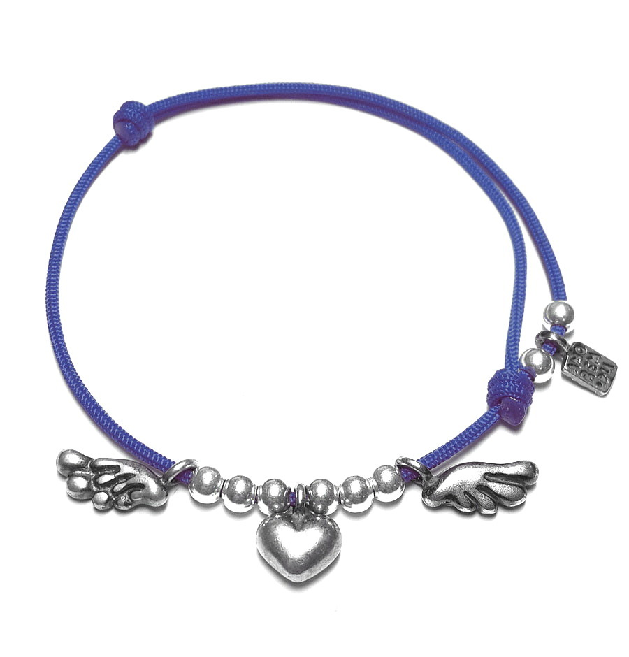 Winged heart bracelet, sterling silver