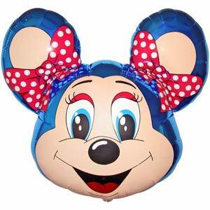 Фольгированный шар Мышка с бантом синяя 67 X 51см