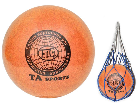 Мяч для художественной гимнастики. Диаметр 15 см. Цвет оранжевый с добавлением глиттера. К мячу прилагается сетка для переноски. :(Т12):