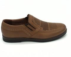 Полуботинки кожаные коричневого цвета на гибкой подошве