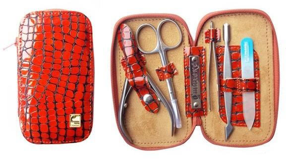 Маникюрный набор СТАЛЕКС НМ-01 «Змейка», 5 предметов. Натуральная кожа, ручная заточка. Цвет № 67