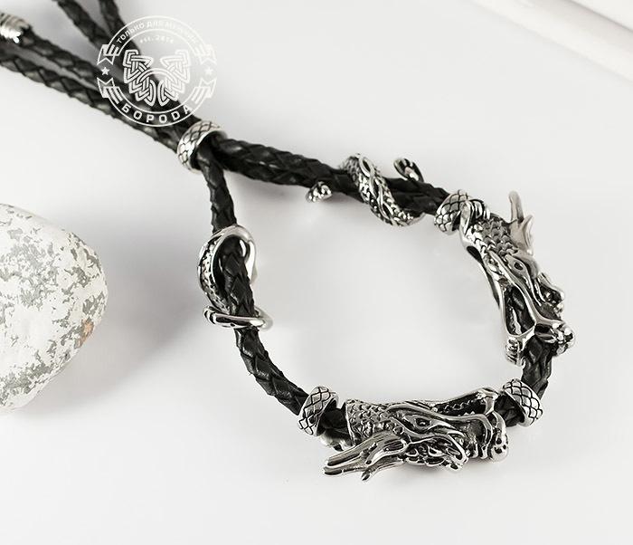 BM366 Необычный мужской браслет «Драконы» из стали и кожи фото 03
