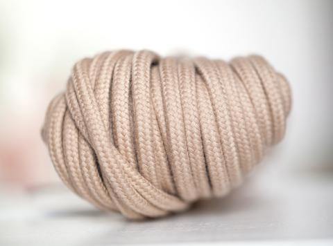 Хлопковый плетеный шнур бежевый 5 мм