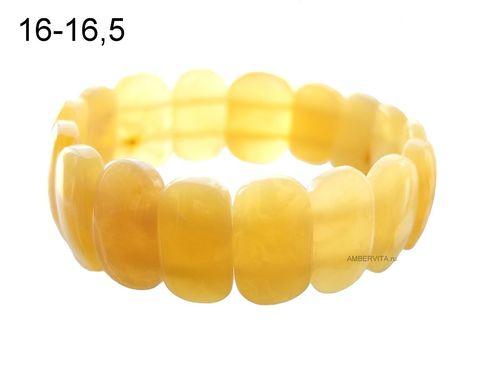 браслет плоский из жёлтого янтаря